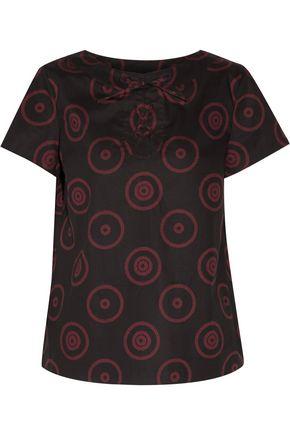 A.P.C. Lace-up printed cotton-blend canvas top