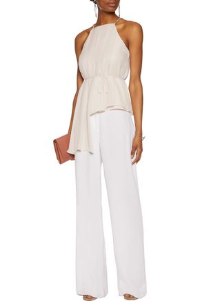HALSTON HERITAGE Pleated asymmetric silk-chiffon top