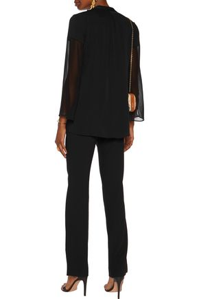 HALSTON HERITAGE Fluted sleeve pintucked silk-blend top