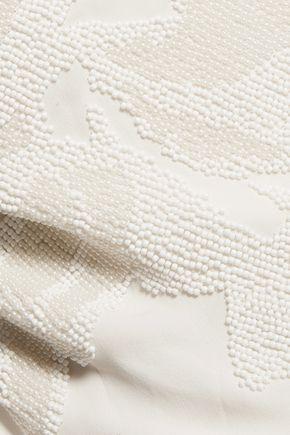 HALSTON HERITAGE Beaded silk top