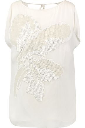 HALSTON HERITAGE Beaded silk top