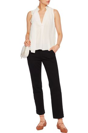 HALSTON HERITAGE Draped washed-silk top