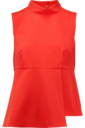 MILLY Asymmetric pleated cady peplum top
