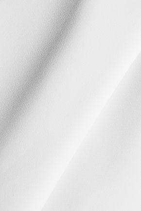 MILLY Asymmetric pleated cady peplum top