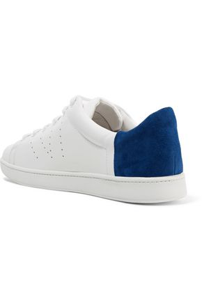 VINCE. Suede-paneled leather sneakers