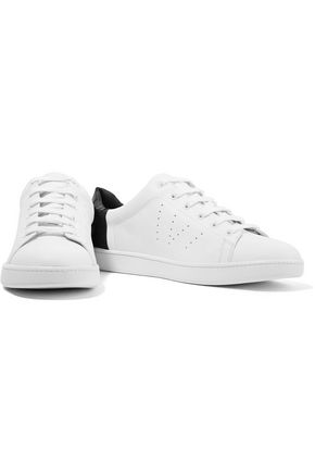 VINCE. Paneled croc-effect and smooth leather sneakers