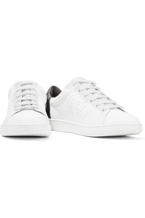 VINCE. Varin metallic paneled textured and perforated leather sneakers