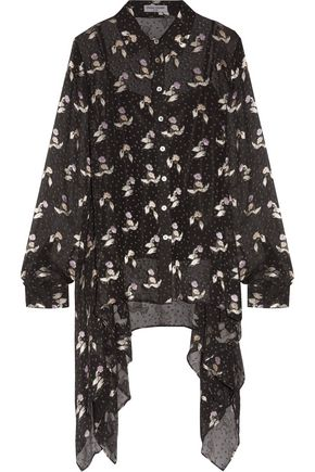 OPENING CEREMONY Draped floral fil-coupé silk-blend chiffon blouse
