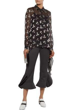 OPENING CEREMONY Asymmetric fil coupé silk blend-chiffon blouse
