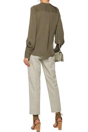 DIANE VON FURSTENBERG Pleated silk-georgette blouse