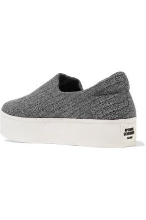 OPENING CEREMONY Cici ribbed-knit platform slip-on sneakers