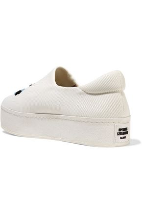 OPENING CEREMONY Cici embroidered twill platform slip-on sneakers