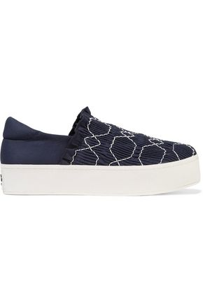 OPENING CEREMONY Cici shirred embroidered canvas slip-on platform sneakers