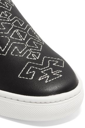 SOLUDOS Embroidered leather slip-on sneakers