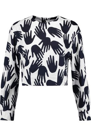 SONIA RYKIEL Cropped printed cotton top