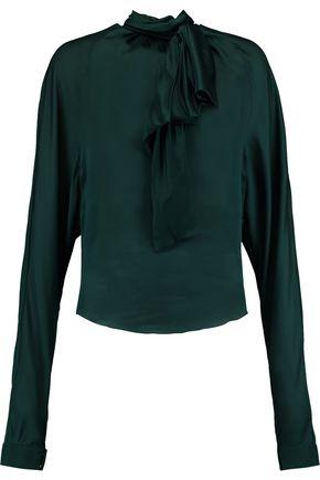 BALMAIN Pussy-bow silk-satin blouse