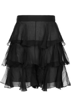 BALMAIN Ruffled silk-chiffon shorts