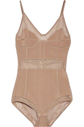 BALMAIN Lace-paneled stretch-jersey bodysuit
