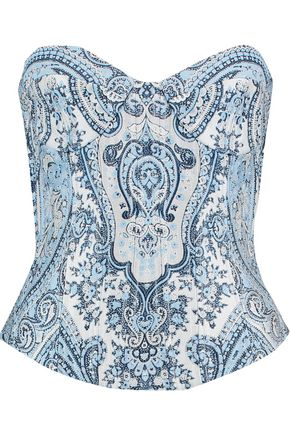 BALMAIN Strapless embroidered printed satin bustier top