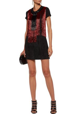 BALMAIN Crystal and fringed bead-embellished cotton-jersey top
