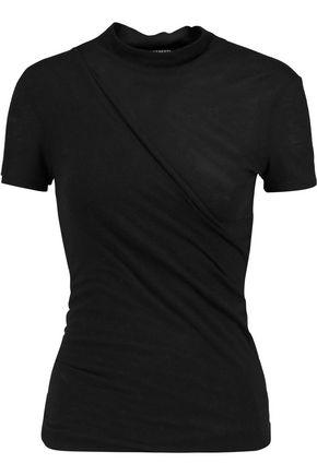 BALMAIN Wrap-effect jersey top