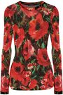 BALMAIN Floral-print wool-blend top