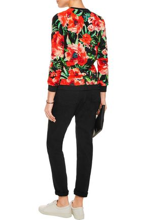 BALMAIN Printed cotton-blend velvet top