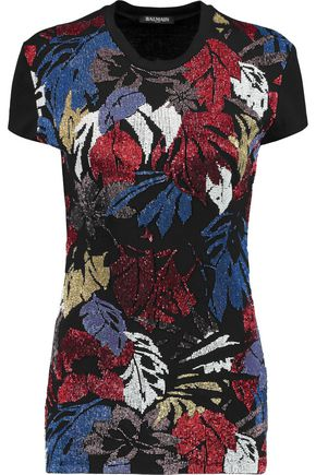 BALMAIN Beaded cotton-jersey T-shirt