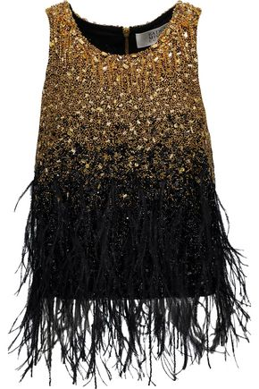 BADGLEY MISCHKA Feather-trimmed embellished tulle top