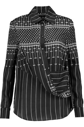 CARVEN Draped printed silk shirt