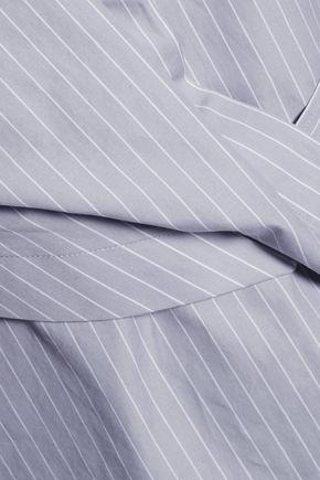 CARVEN Draped pinstriped cotton-poplin shirt