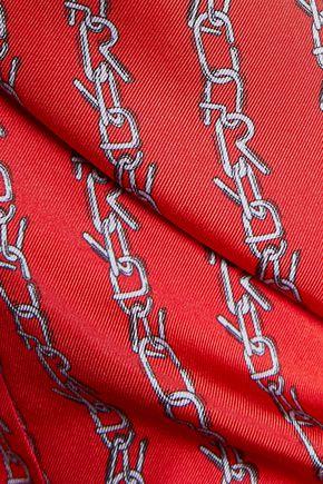 CARVEN Asymmetric printed silk-satin twill shirt