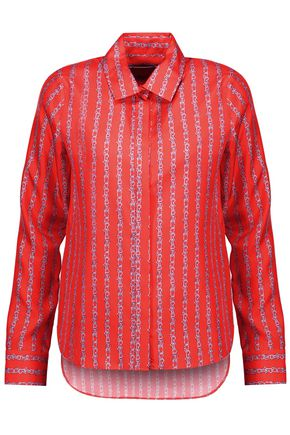 CARVEN Asymmetric printed silk-satin twill shirt