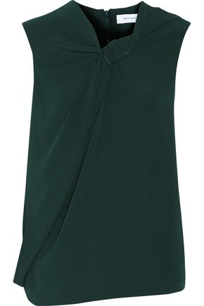 CARVEN Knotted draped crepe top
