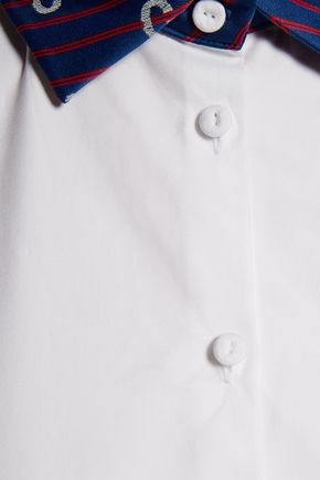 CARVEN Paneled printed cotton-blend twill shirt