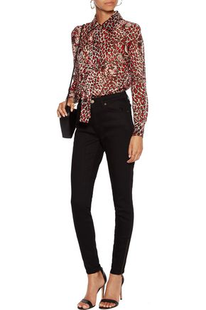 SAINT LAURENT Pussy-bow printed silk-chiffon shirt