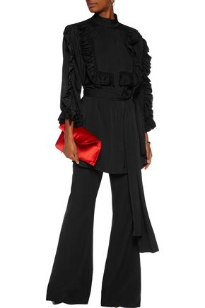 ELLERY Bling Ring ruffle-trimmed silk-blend blouse