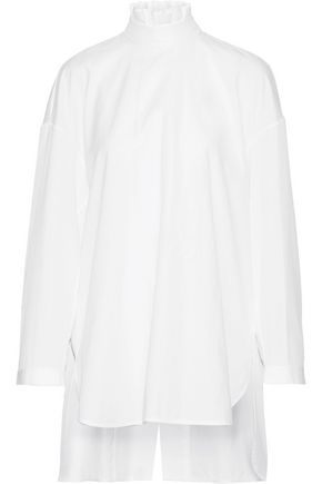 ELLERY Ruffled split-back cotton-poplin top