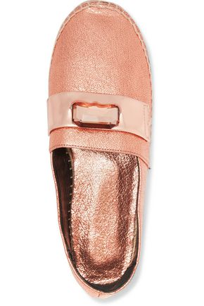 ROBERT CLERGERIE Embellished metallic cracked-leather espadrilles