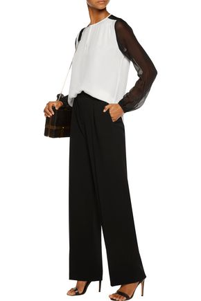 DIANE VON FURSTENBERG Nikki two-tone silk crepe de chine blouse