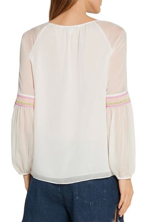 DIANE VON FURSTENBERG Sammy embroidered silk-georgette top
