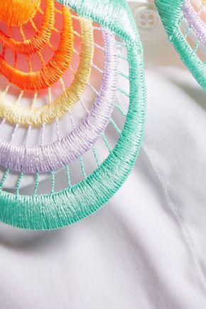 CHRISTOPHER KANE Open knit-trimmed cotton-blend poplin shirt