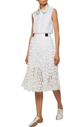 CHRISTOPHER KANE Open knit-trimmed cotton-blend poplin shirt