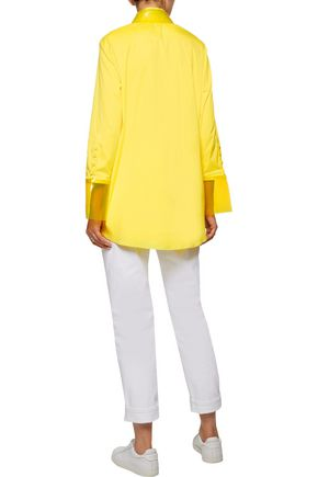 CHRISTOPHER KANE PVC-trimmed cotton-blend poplin shirt