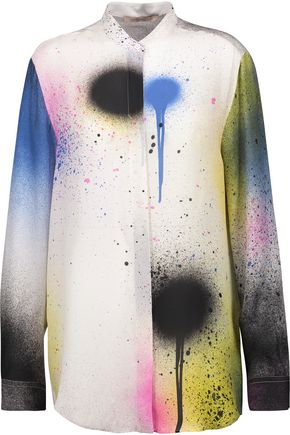 CHRISTOPHER KANE Printed silk crepe de chine shirt