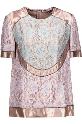 CHRISTOPHER KANE Paneled lace and satin top