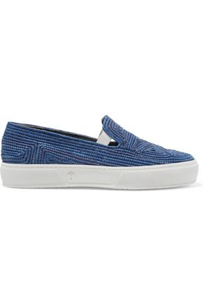 ROBERT CLERGERIE Tribal woven raffia slip-on sneakers