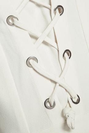 IRO Moltani lace-up crepe playsuit