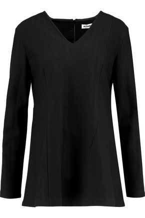 JIL SANDER Fluted herringbone wool top