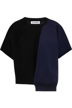 JIL SANDER Asymmetric felt and crepe top